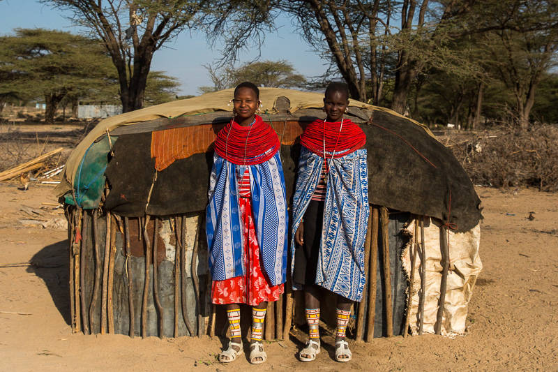 Samburu Girls next to hut